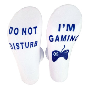 3 pairs Do Not Disturb I'm Gaming Funny Men Cotton Socks Novelty Socks Anti Slip Sox New Year Birthday Gift for Fort Night Game Lovers - Assist Wear