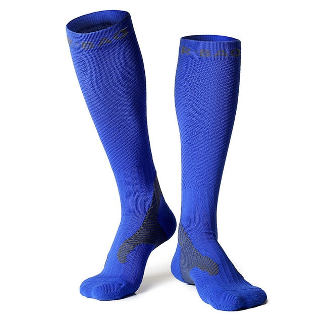 Blue compression socks for running