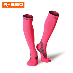 Pink compression socks for running