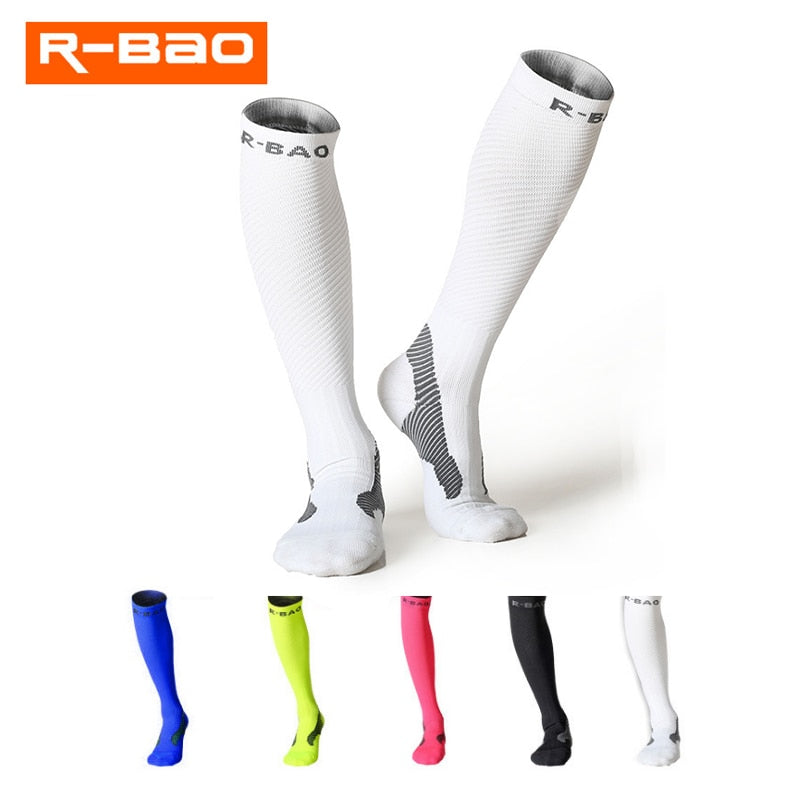 White compression socks for running