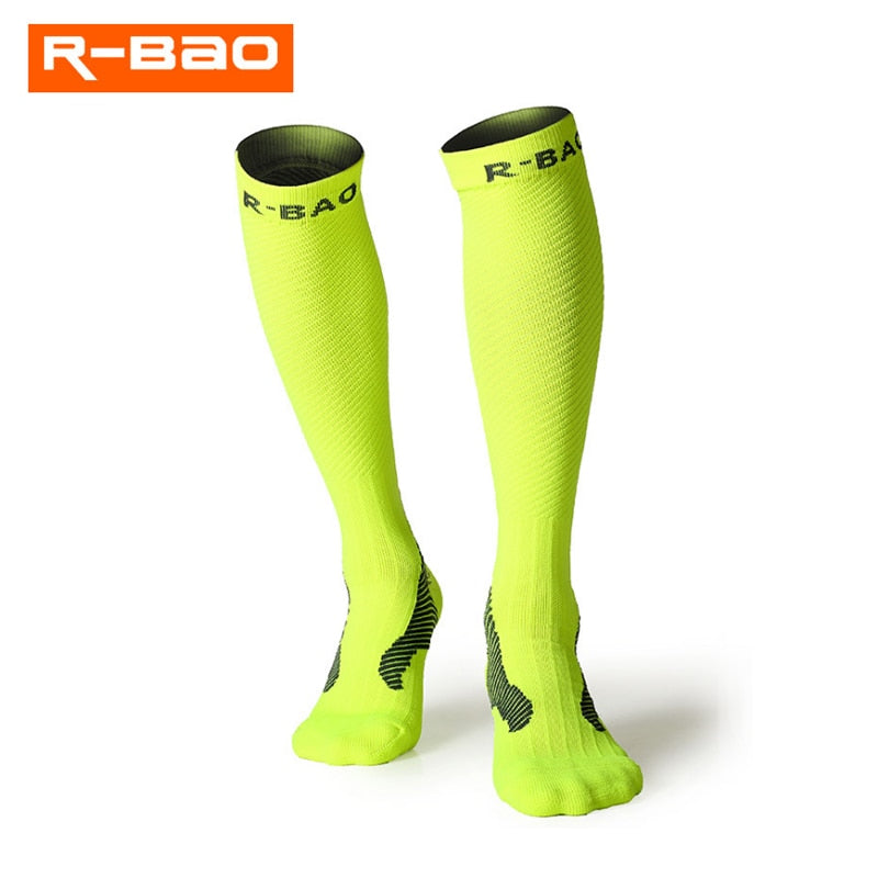 Yellow compression socks for running