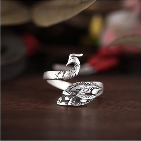 Resizable 100% Silver Peacock Rings