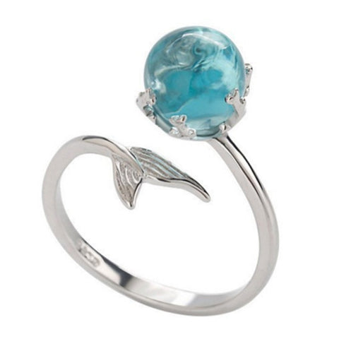 Adjustable Blue Crystal Mermaid Tail Open Ring