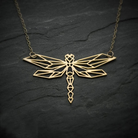 Origami Stainless Dragonfly Necklace