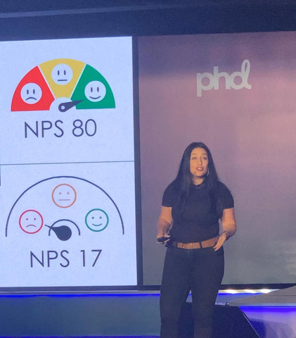 Natasha Ritz Speaking at PHD Media's BrainScape event in Dubai in 2019 all about challenger brands