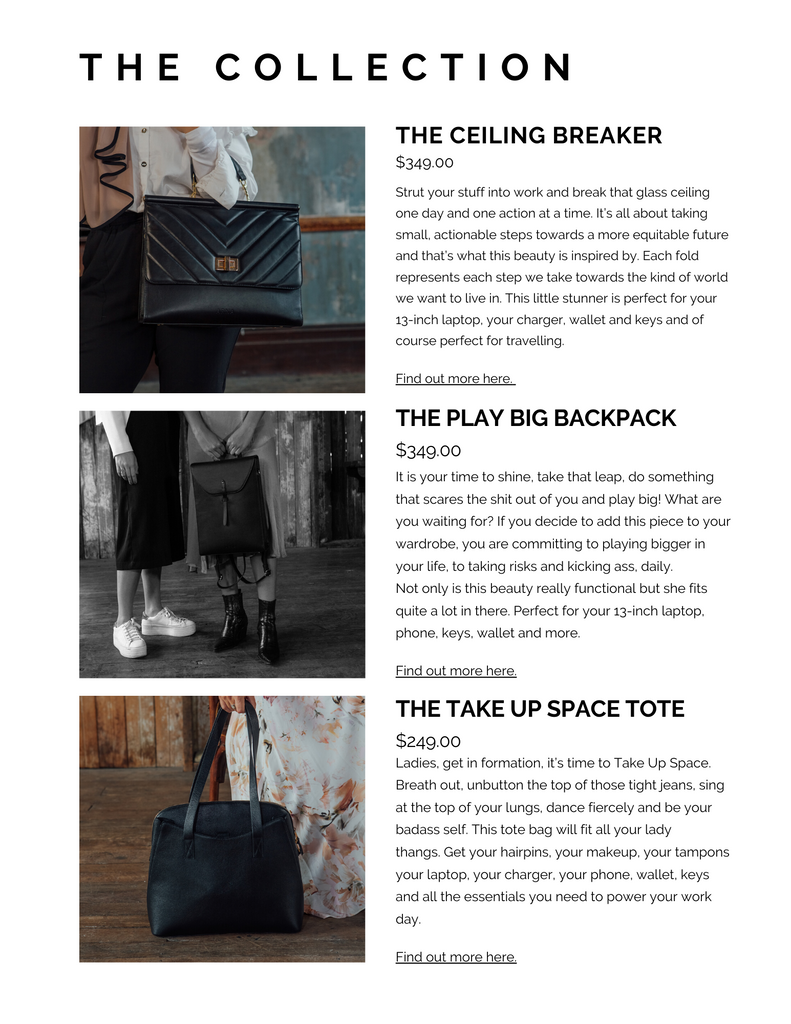 ARNA women leaders bag designs by Alana barnes - Bold Moves collection, work bags, laptop bags, backpack, black leather