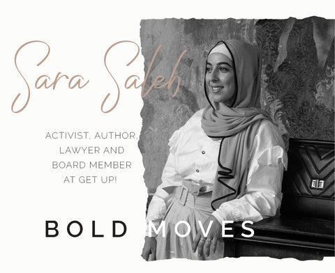 Sara Saleh interview with ARNA for Bold Moves Campaign 2020 - ARNA women leaders work and laptop bags