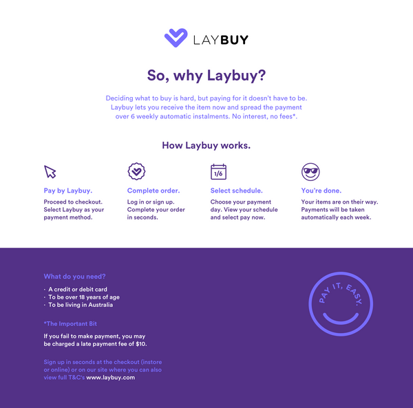 LAYBUY buy now and pay in 6