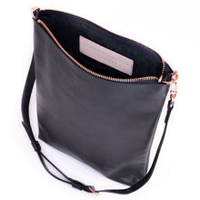 Load image into Gallery viewer, Black Leather Laptop Tote
