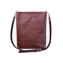 Load image into Gallery viewer, Cognac Leather Laptop Tote