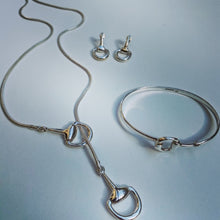 Load image into Gallery viewer, Snaffle Horse Bit Sterling Silver Handmade Earrings