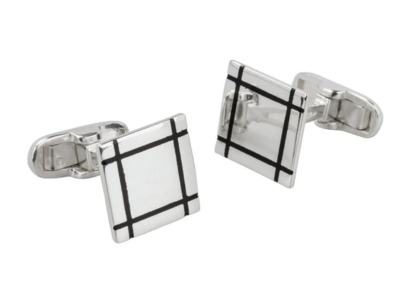 Square Black Trim Sterling Silver Cufflinks - Mon Bijoux