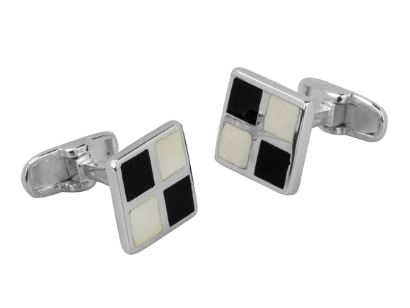 Black and White Square Sterling Silver Cufflinks