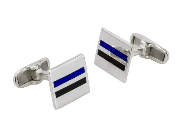 Black and Blue Striped Sterling Silver Cufflinks