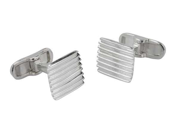 Square Textured Sterling Silver Cufflinks