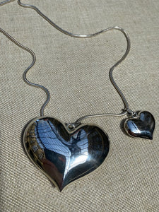 Large Puffy Love Heart Sterling Silver Pendant