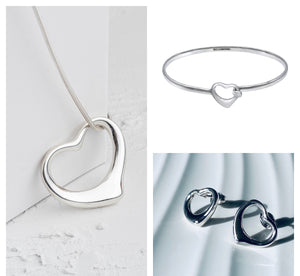 Open Heart Sterling Silver Necklace, Bangle and Earrings Set