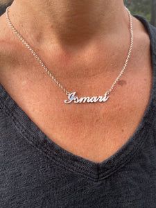 sterling silver nameplate necklace personalised name necklace