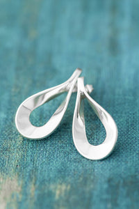 Flat Teardrop Sterling Silver Necklace and Earring Set - Mon Bijoux - Mon Bijoux