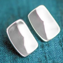Load image into Gallery viewer, Rectangle Shield Shapes Sterling Silver Stud Handmade Earrings - Mon Bijoux - Mon Bijoux