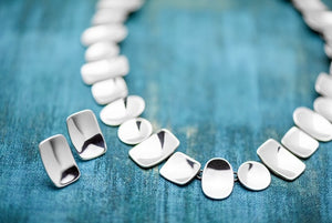 Sterling Silver Shapes Bib Necklace - Mon Bijoux