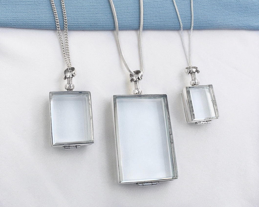 Silver Glass Photo Locket Rectangle