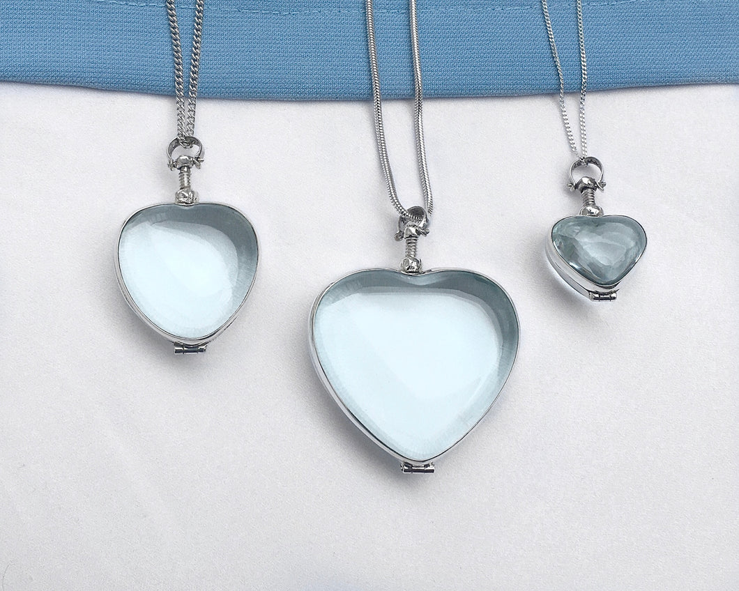 Heart Shaped Sterling Silver Glass Locket