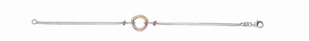 3 Interlinking Circles Rose Gold, Yellow Gold and Sterling Silver Bracelet- Mon Bijoux - Mon Bijoux