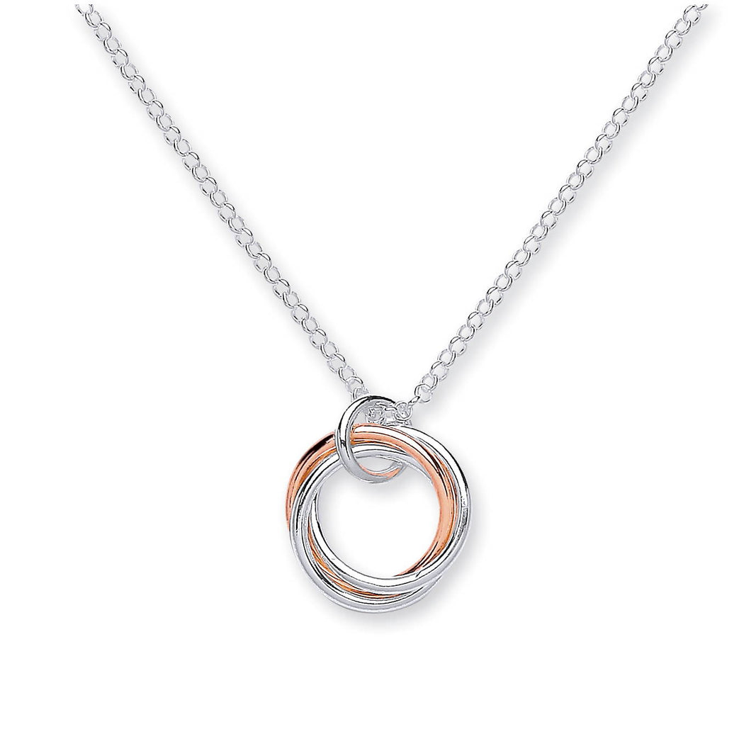 3 Interlinked Circles Rose Gold and Sterling Silver Necklace - Mon Bijoux