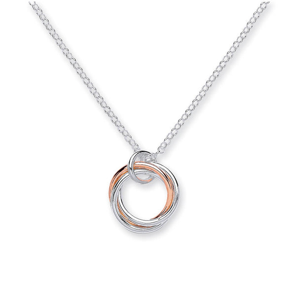 3 Interlinking Circles Rose Gold and Sterling Silver Necklace - Mon Bijoux - Mon Bijoux