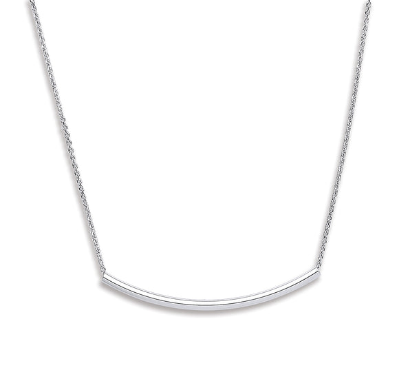 Curved Tube Sterling Silver Necklace - Mon Bijoux - Mon Bijoux