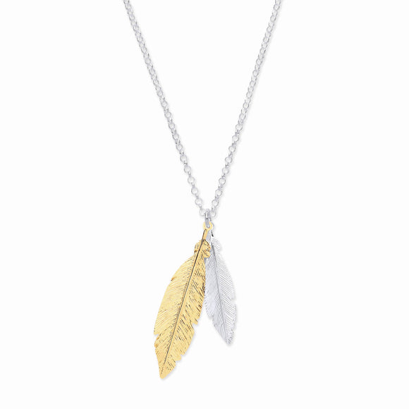 Feather Necklace 2 color Yellow Gold and Sterling Silver - Mon Bijoux - Mon Bijoux
