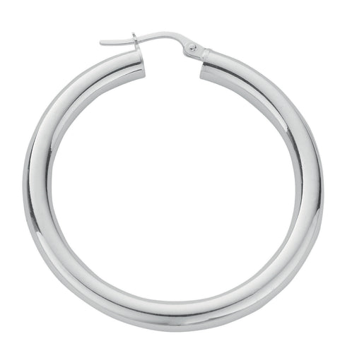 Thick Round Sterling Silver Hoop Earrings 30mm - Mon Bijoux