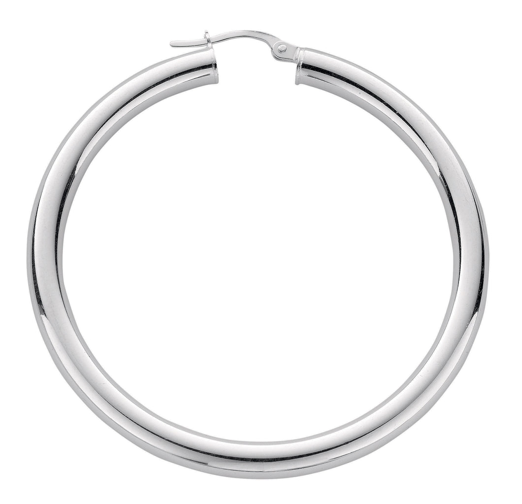 Thick Round Sterling Silver Hoop Earrings 40mm - Mon Bijoux