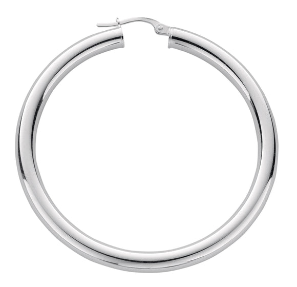 Thick Round Sterling Silver Hoop Earrings 40mm- Mon Bijoux - Mon Bijoux