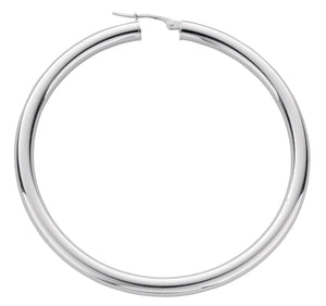 Thick Round Sterling Silver Hoop Earrings 50mm - Mon Bijoux