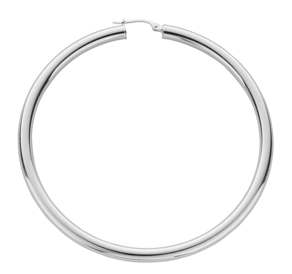 Thick Round Sterling Silver Hoop Earrings 60mm - Mon Bijoux