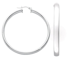 Load image into Gallery viewer, Thick D Shaped Sterling Silver Hoop Earrings 45mm - Mon Bijoux