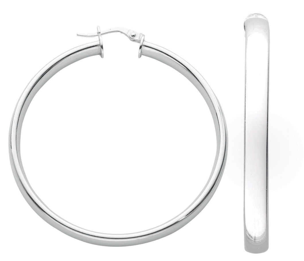 Thick D Shaped Sterling Silver Hoop Earrings 45mm - Mon Bijoux