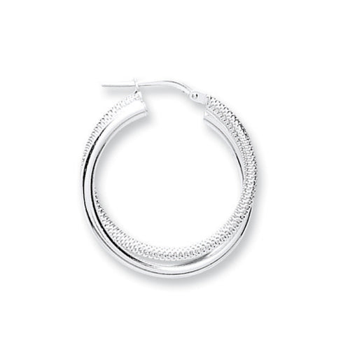 Round Shaped Double Twisted Sterling Silver Hoop Earrings 20mm - Mon Bijoux