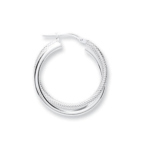 85287a323 Round Shaped Double Twisted Sterling Silver Hoop Earrings 20mm - Mon Bijoux