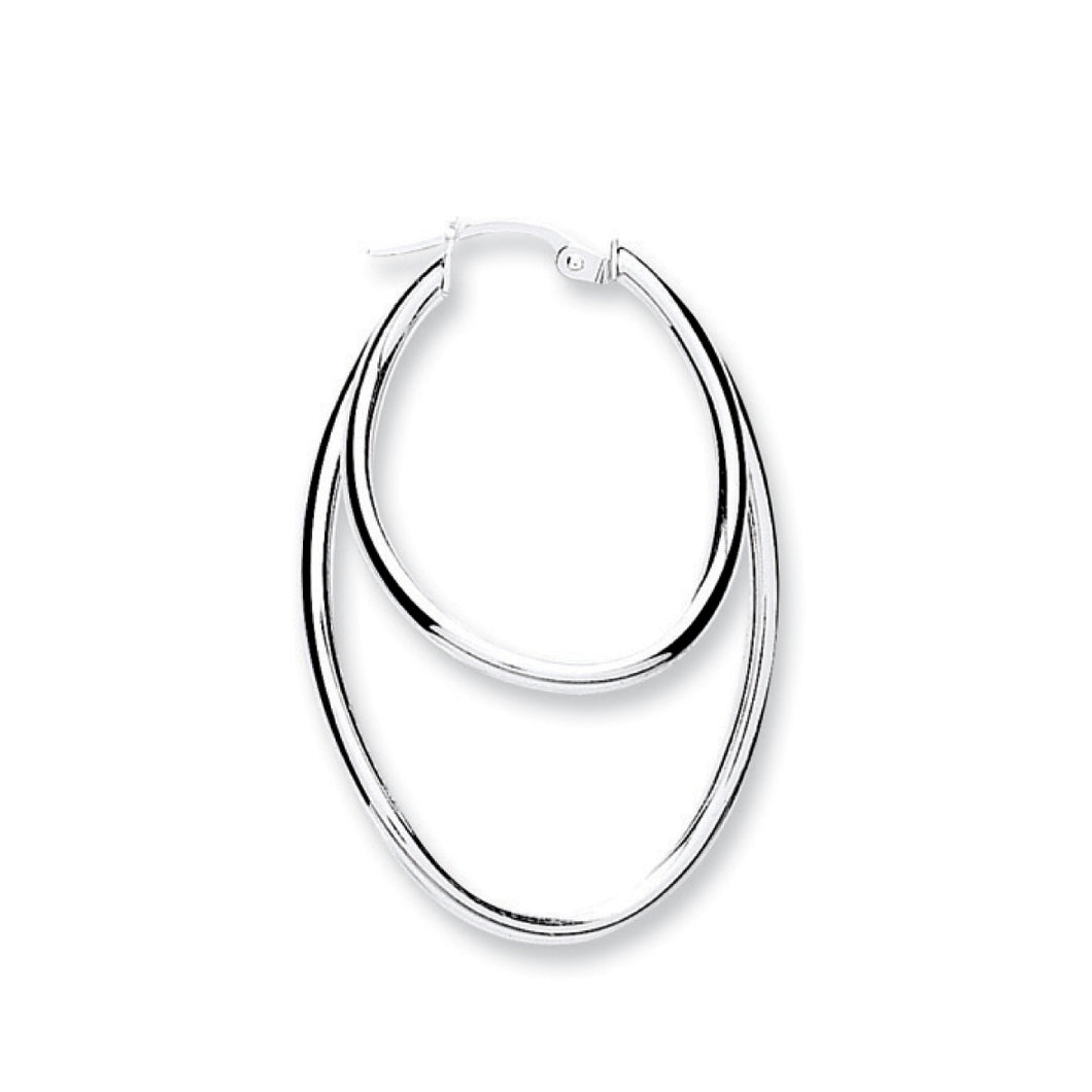 Double Oval Shaped Sterling Silver Hoop Earrings 25mm - Mon Bijoux