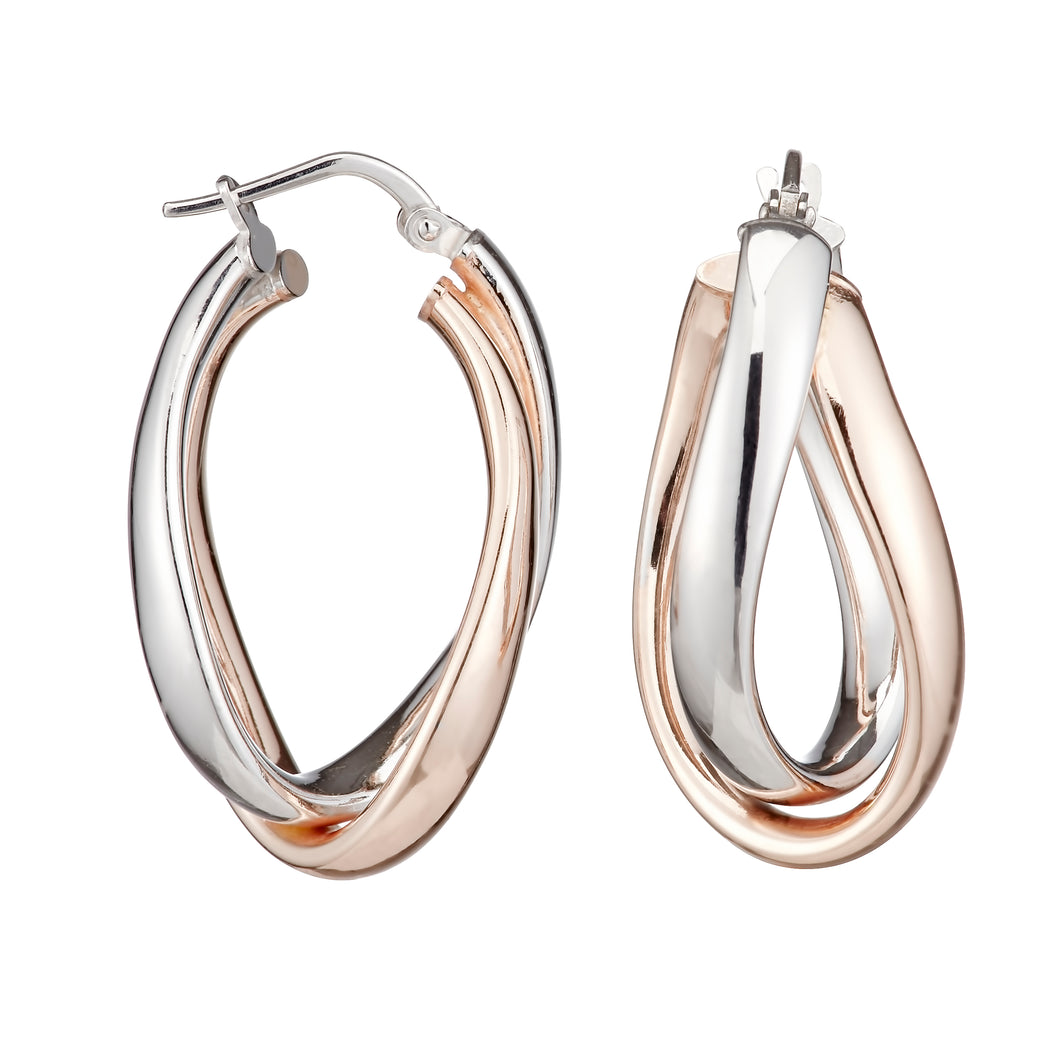 Double Oval Sterling Silver Rose Gold Thick Hoop Earrings 15mm - Mon Bijoux