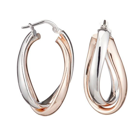 Double Oval Shaped Sterling Silver Rose Gold Thick Hoop Earrings 15mm- Mon Bijoux - Mon Bijoux