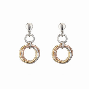 3 Interlinking Circles Rose Gold, Yellow Gold and Sterling Silver Earrings- Mon Bijoux - Mon Bijoux