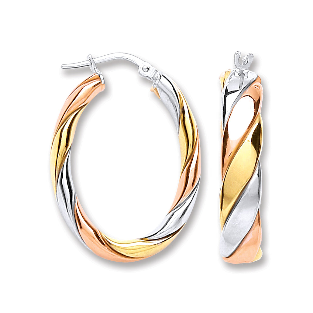 Oval Sterling Silver, Yellow Gold and Rose Gold Hoop Earrings 15mm - Mon Bijoux