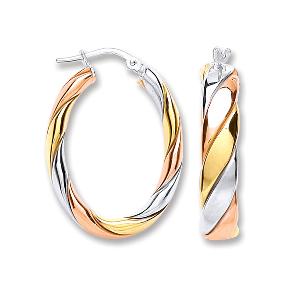 Oval Shaped Sterling Silver, Yellow Gold and Rose Gold Hoop Earrings 15mm- Mon Bijoux - Mon Bijoux