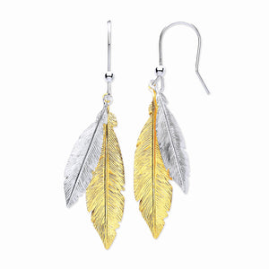 Feather Earrings 2 color Yellow Gold and Sterling Silver - Mon Bijoux - Mon Bijoux