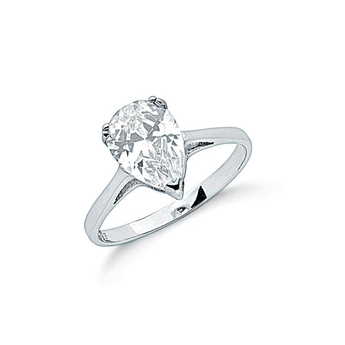 Sterling Silver and Cubic Zirconia Claw Set Pear Cut Solitaire Ring - Mon Bijoux