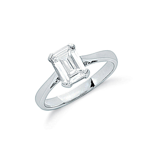 Sterling Silver and Cubic Zirconia Claw Set Emerald Cut Solitaire Ring- Mon Bijoux - Mon Bijoux